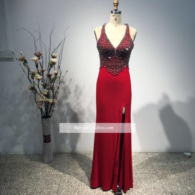 New Arrival Sexy Sleeveless Bodycon Long Front Split Straps Beads Prom Dress