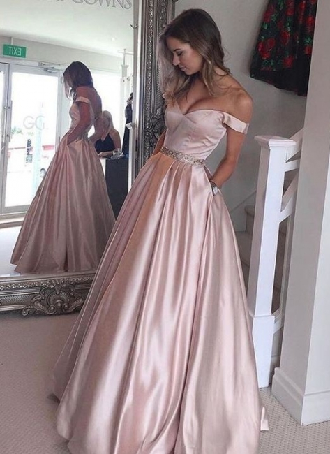 Pearl-Pink Puffy Off-the-Shoulder Party Gowns 2018 Pockets Beading Prom Dresses BA5008