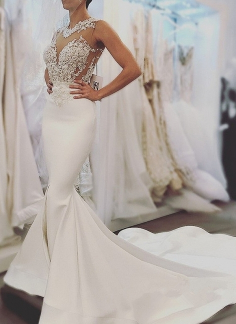 Elegant Mermaid Wedding Dresses | Sheer Neck Sleeveless Lace Appliques Long Bridal Gowns