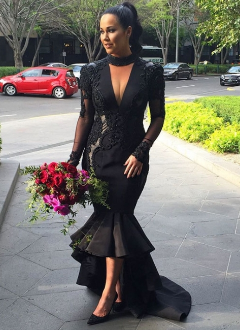 Sexy Black Mermaid Evening Gowns | V-neck Long Sleeves Wedding Party Dress
