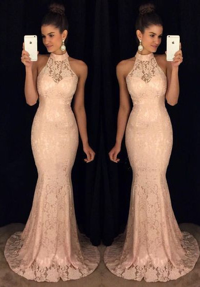 Sweep-Train High-Neck Lace Mermaid Elegant Sleeveless Prom Dress