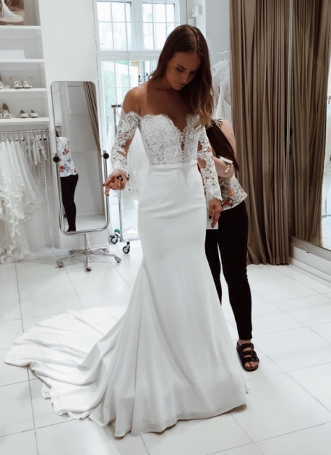 Amazing White Mermaid Wedding Dresses | Off-the-Shoulder Long Sleeves Bridal Gowns