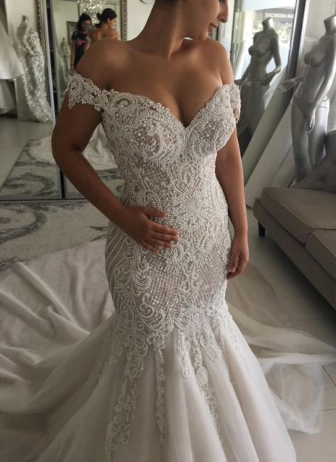 Gorgeous Pearls Mermaid Wedding Dresses | Off-the-Shoulder Long Bridal Gowns
