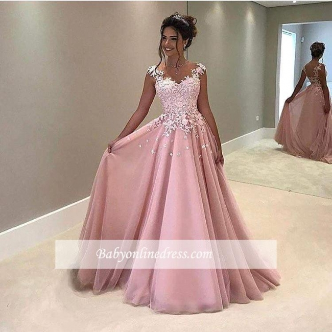 Gorgeous Lace V-Neck Prom Dress 2018 Appliques Pink Cap-Sleeves A-Line Evening Gowns