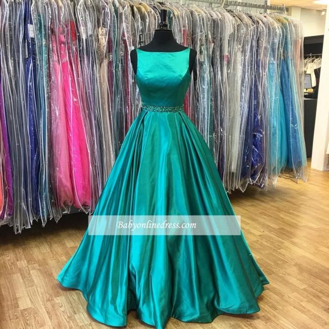 Green Stunning Sleeveless Beadings A-Line Prom Dress