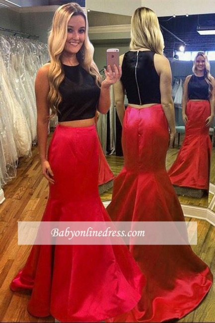 2018 Gorgeous Red Sleeveless Black Mermaid Two-Piece Evening Dress