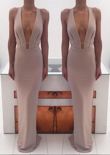 Sexy Deep V-Neck Long Evening Dresses 2018 Sleeveless