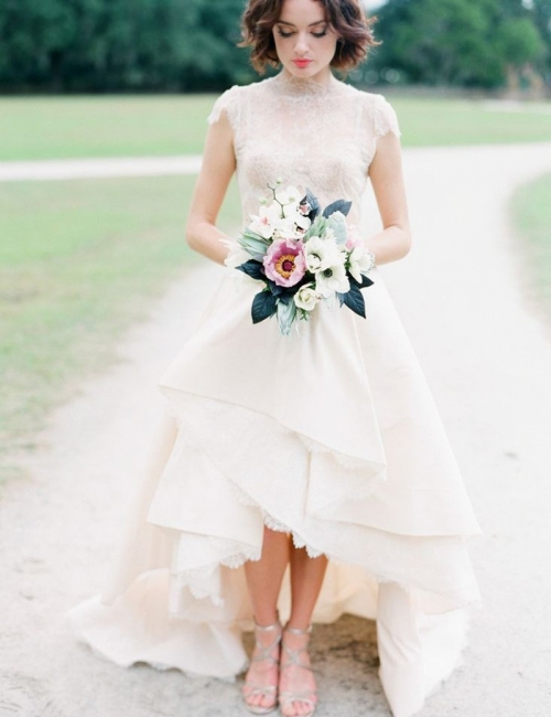 Chic Hi-Lo Wedding Dresses | High Neck Lace Layers Skirt Bridal Gowns