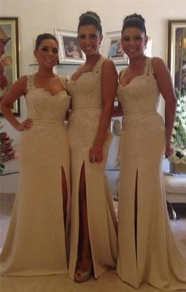 Sexy Lace Mermaid Bridesmaid Dresses Side Slit Beaded Prom Dresses with Buttons