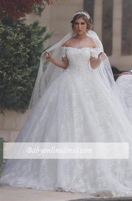 Lace-Up-Back Arabic Ball-Gown Sweetheart White Off-Shoulder Appliques Wedding Dresses