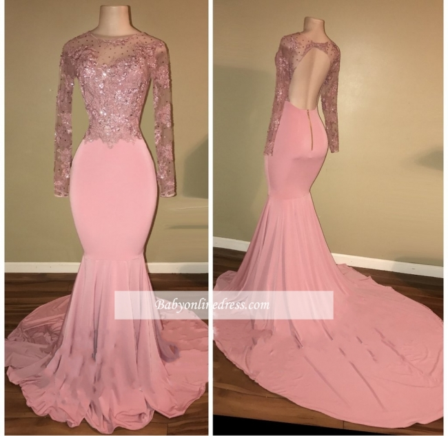 Shiny Long-Sleeves Mermaid Pink Beaded Backless Prom Dresses