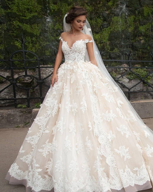 Elegant Lace Appliques Wedding Ball Gowns Off-the-shoulder Court Train Bridal Gowns
