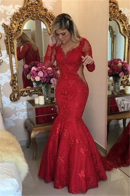 V-neck Long Sleeves Floor-length Lace Appliques Mermaid Evening Dresses