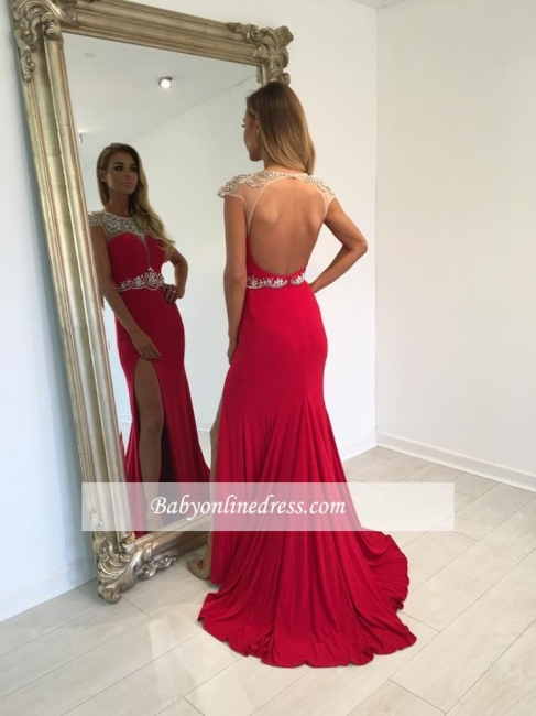 Sexy Red Long Prom Dress Cap-Sleeve Split Crystal Evening Gowns
