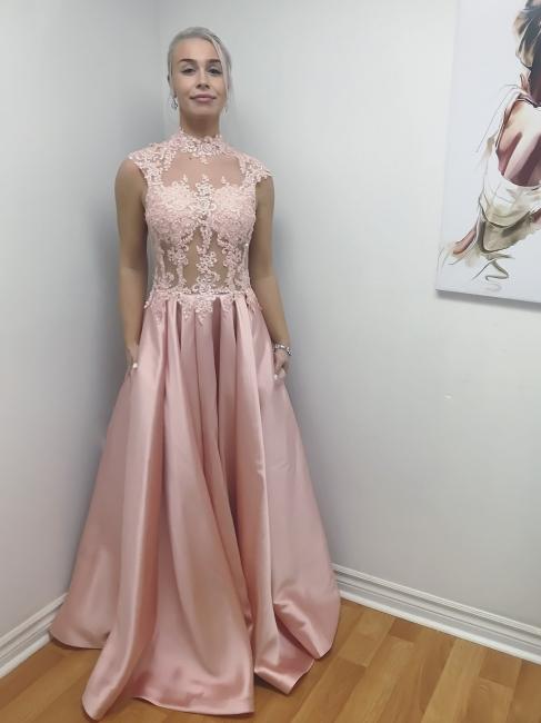 Bodice Lace-Applique High-Neck A-Line Long Chic Illusion Prom Dresses