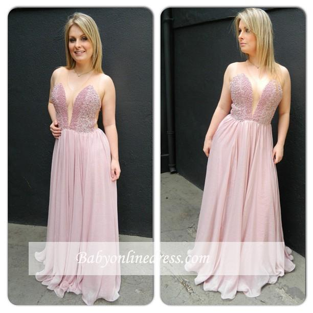 Newest Charming Chiffon V-neck Floor-length Sleveless Prom Dress