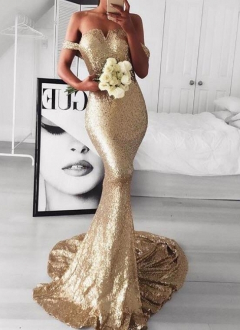 Gold Off-The-Should Mermaid Prom Dresses | Sexy Sequins Evening Dresses
