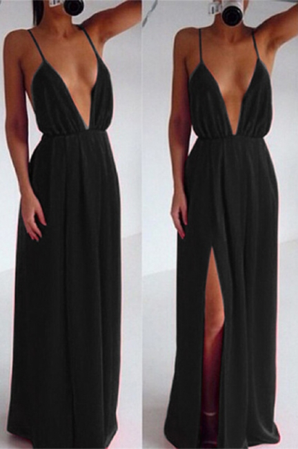 Sexy Cheap Deep V-Neck Backless Prom Dress Side Slit Black Evening Gowns