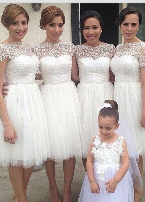 Knee Length Short Bridesmaid Dresses Short Sleeves Lace vestidos de dama de honra