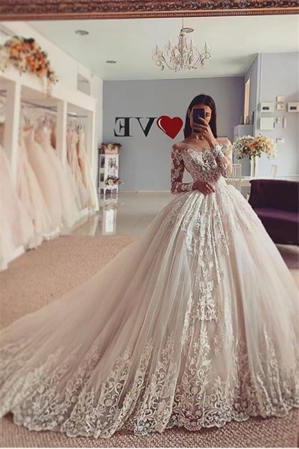 Elegant Long Sleeve Off The Shoulder Lace Ball Gown Floor Lengh Wedding Dresses