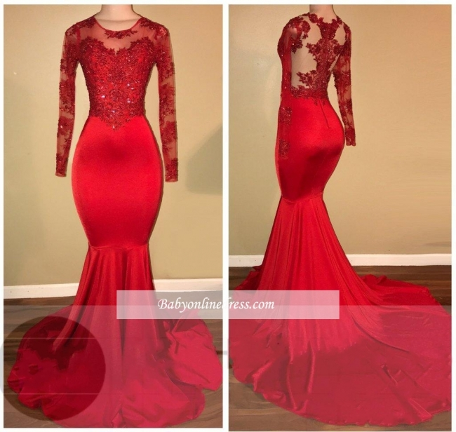 Amazing Appliques Sheer Red Long-Sleeves Mermaid Prom Dresses