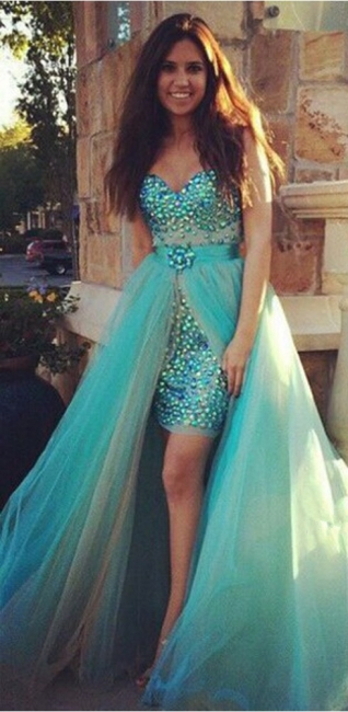 Turquoise Blue Rhinestones Two-Piece Prom Dresses with Removable Skirt