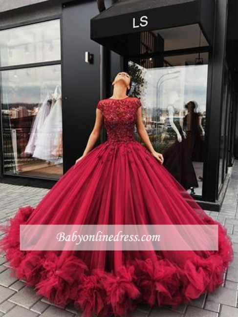 Luxury Ball Gown Prom Dresses | Gorgeous Red Short Sleeves Evening Gowns