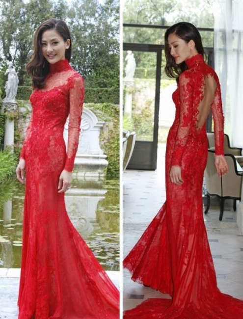 Red Lace High-Neck Evening Gowns Mermaid Long-Sleeve Prom Dress