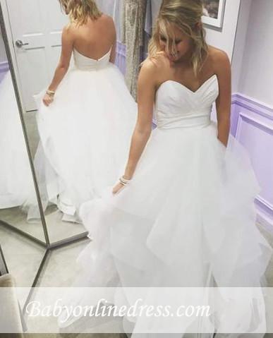 Summer Empire Sweetheart A-Line Ruffles Tiered Long Wedding Dresses