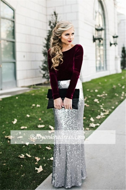 Sequins Long Sleeves Burgundy Silver Sheath Velvet Evening Dresses