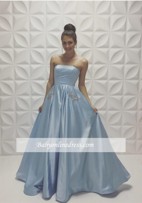 New Arrival Strapless Beads A-line Baby Blue Sleeveless Prom Dress