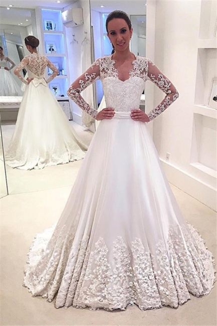 Appliques A-Line Long-Sleeves Bridal Gowns Sweep Train Bowknot Wedding Dresses