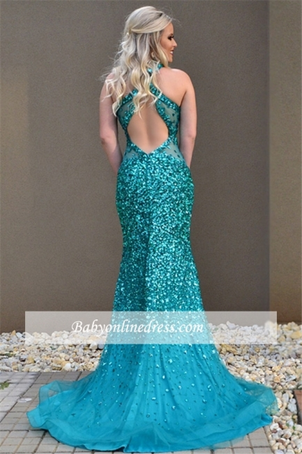 Crystal Sleeveless Sexy Open-Back Mermaid Open-Back Prom Dress