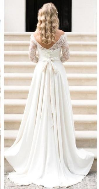 A-line Elegant Sash Bow Fall Lace Long-Sleeves Bateau-Neck Wedding Dresses