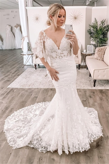 Modern Lace Wedding Dresses | Fit and Flare Cheap Bridal Gowns