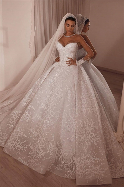 Strapless Ball Gown Lace Wedding Dresses | Sweetheart Princess Bridal Gowns