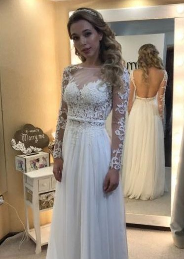 Floor Length Backless Lace Long-Sleeves Modern A-line Wedding Dress