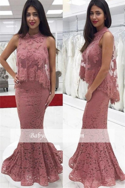2018 Cute-Pink High-neck Floor-Length Lace Mermaid Prom Dress