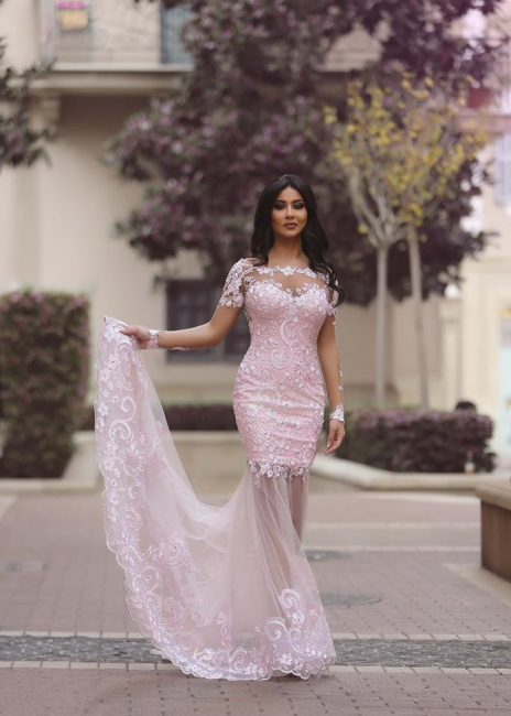 Long Sleeves Lace Prom Dresses Blushing Pink Mermaid Sheer Sexy Evening Gowns