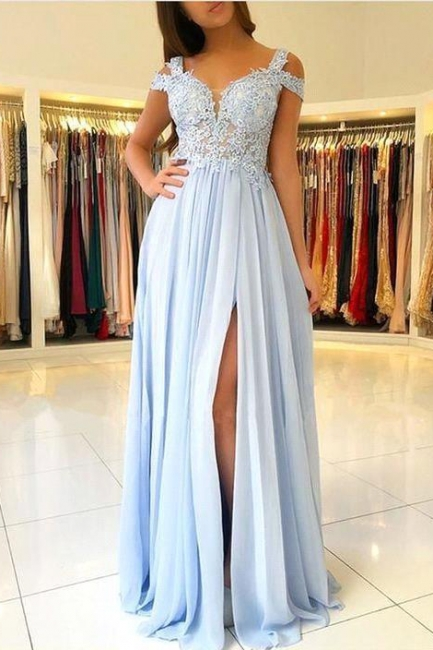 Capped Front Split A-line Prom Dresses | Sexy V-Neck Appliques Evening Dresses