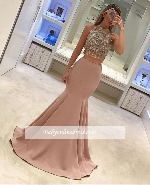 Gorgeous Pink Two-Piece Prom Dresses 2018 Mermaid Evening Gowns with Beadings