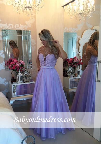 Romantic Lavender Puffy Long Sheer Pearls Short-Sleeves Prom Dresses