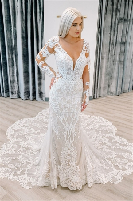 Fitted Lace Wedding Dresses Cheap | Sheer Sleeves Elegant Bridal Gowns