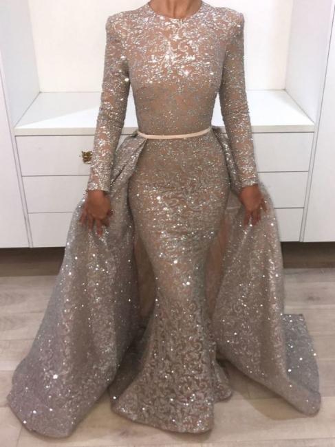 Brilliant Long Sleeves Sequins Evening Dresses | Mermaid Overskirt Popular Prom Dresses