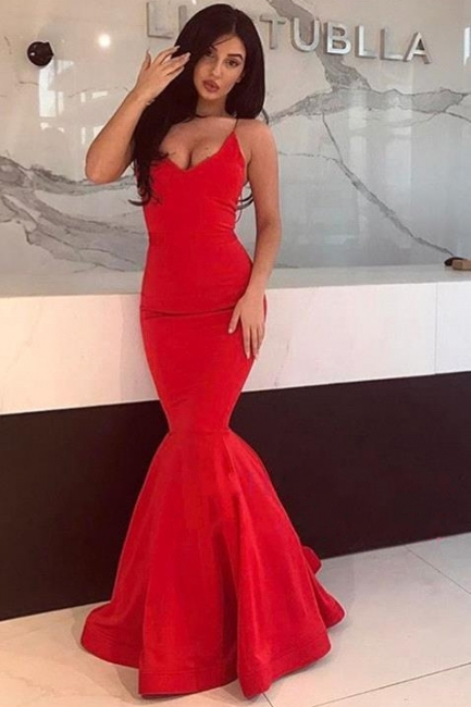 Red Spaghetti Strap Mermaid Prom Dresses | Court Train Sleeveless Evening Dresses