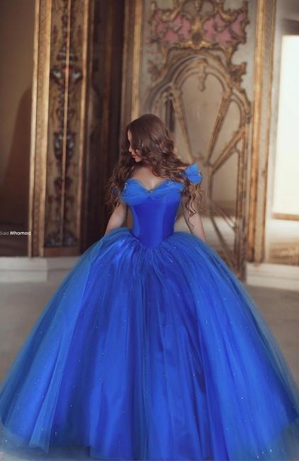 Royal Blue Ball Gown Princess Dresses Off Shoulder Floor Length Stunning Prom Dresses