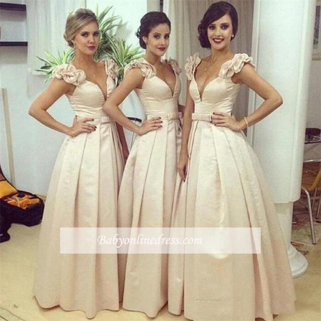 Floor-length V-neck Bow Ruched Ball-Gown Birdesmaid Dress