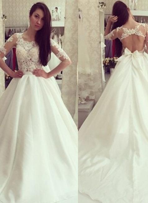 Sweep Train Sweep Train Half Sleeves Bow Gorgeous A-line Wedding Dress