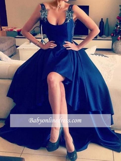 Hi-Lo Appliques Sexy Open-Back Straps Blue Prom Dresses