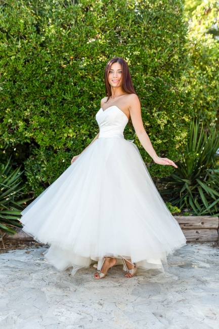Half-sleeves Ball-Gown Lace Floor Length Simple Off-the-shoulder Wedding Dresses
